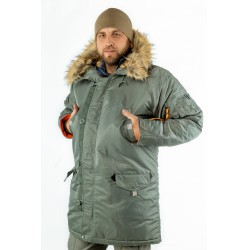 Куртка Аляска HUSKY Long Olive/Orange | Apolloget